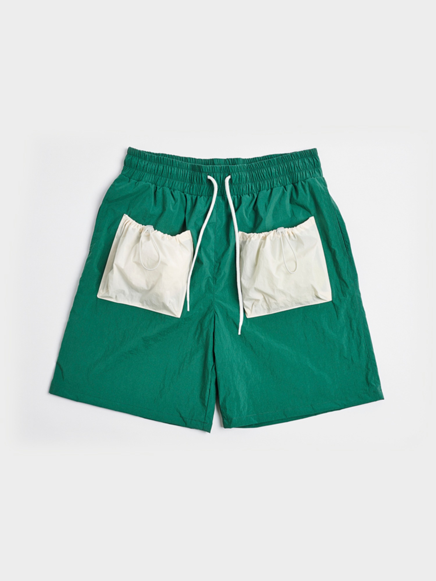 [Open SALE] 2 Pockets Shorts (Forest Green & Cream)