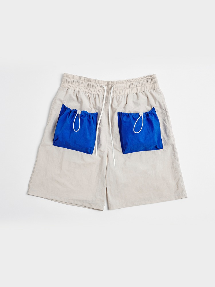 [Open SALE] 2 Pockets Shorts (Cream & Blue)