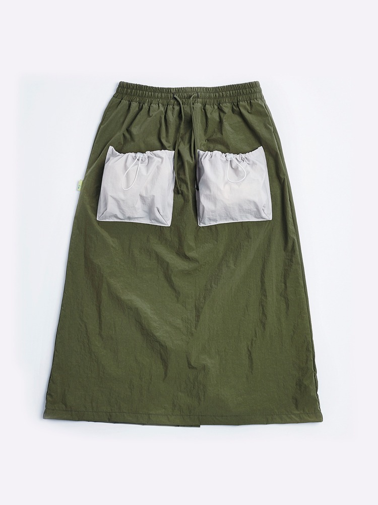 [Open SALE] 2 Pockets Skirt (Khaki & Cream)