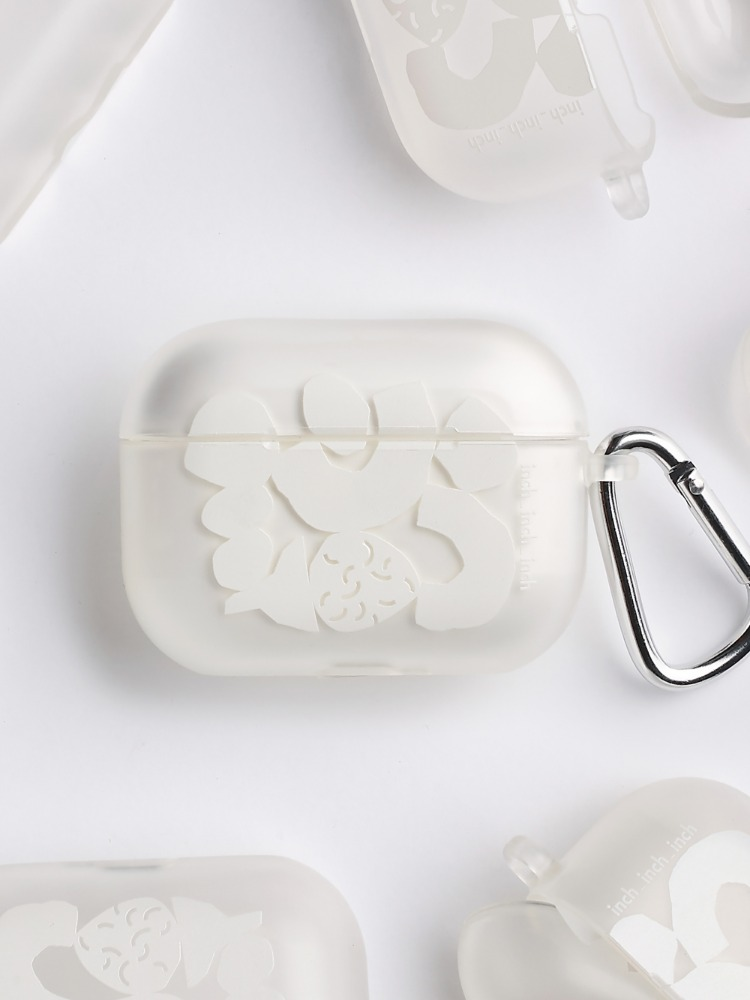 White Blocks Airpods Pro Case (반투명)(키링 포함)